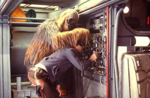 Han and Chewie Rehabbing the Falcon